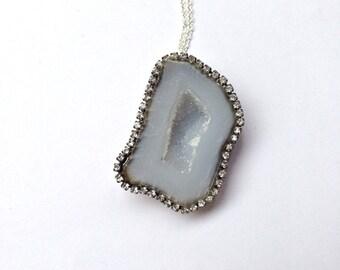 Tabasco Geode Necklace Druzy Gem Diamond Look Slice Necklace, Swarovski Crystal Raw Gemstone Jewelry Large Geode Minimalist Jewelry - Rhonda