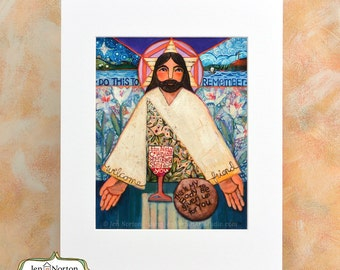 Last Supper, Body and Blood of Christ Art Print, Sacrament of Communion, Gift for First Communion or RCIA, religious wall art