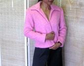 80s Pink Mohair Blend Short Jacket