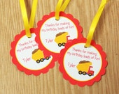 Construction Party - Set of 12 Personalized Dump Truck and Bull Dozer Favor Tags by The Birthday House
