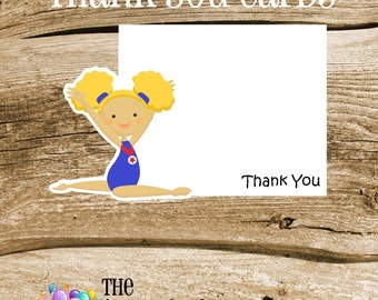 USA Gym Girls Party - Set of 8 Blonde Gym Girl Gymnastic Thank You Cards by The Birthday House