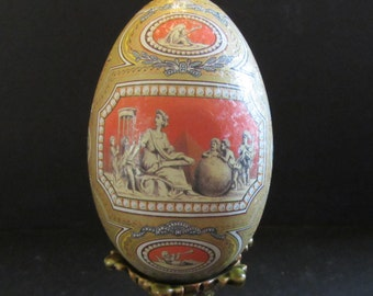 Enameled Egg Shaped Tin With Godesses  Vintage
