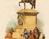 1880 Old England Series. Antique Chromolithograph of the Statue of Charles I at Charing Cross, London