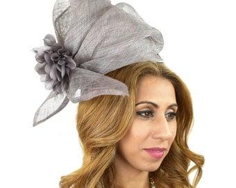 Grey Fascinator Hat for Kentucky Derby, Weddings on a Headband ** SAMPLE SALE