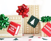 Holiday Gift Tags Set of 6, Christmas gift tags, Merrily Married
