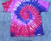 Purple, Red and Pink Spiral Tie Dye T-Shirt (Jerzees Size XL) (One of a Kind)