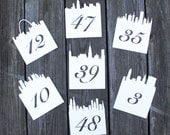 City Skyline Table Numbe Cards - Wedding Place Cards, Flat Table Numbers, Script,Reception, Escort Card, Rustic Wedding, Table Number Cards