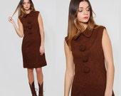 Vintage 60s Shift Dress Mocha Boucle CARVEN Sleeveless Dress Peter Pan Collar POM POM Parisian Wool Dress