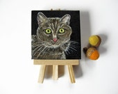 Miniature Cat Totem Painting Mini Fine Art Acrylic on Canvas with easel original contemporary cat portrait modern tiny art for shelf
