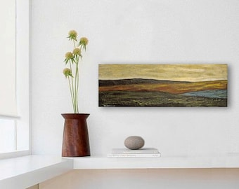 SALE Landscape Painting 4x12 Acrylic on Canvas Modern Fine Art mountains warm rustic colors brown rust beige original art for small space