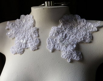 WHITE Beaded Lace Applique Pair Corded Lace for Lyrical Dance, Bridal, Veils, Sashes, Costumes PR 61white