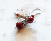 Red Jasper Earrings, Sterling Silver Dangle Earrings, Boho Earrings, Oriental Earrings, Jasper Jewellery, Picture Jasper Earrings