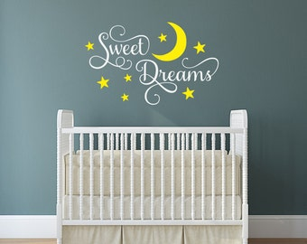 Sweet Dreams nursery wall decal, moon and stars decor, vinyl decal for child's room, two color decal