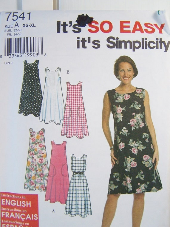 Simplicity 7541 Dress Sewing Pattern Misses Flared Skirt - photo#43