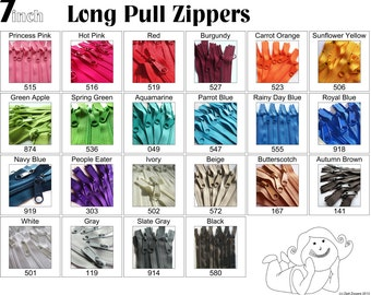 7 Inch 4.5 Ykk Purse Zippers with a Long Handbag Pulls Mix and Match Your Choice of 50 Zippers- New Colors Added-