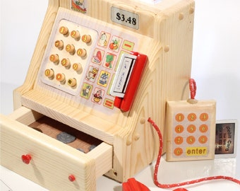 Pretend Toy Cash Register Wooden - includes pull-out drawer, 2 card swipers, upc scanner, 2 credit cards and 2 receipts