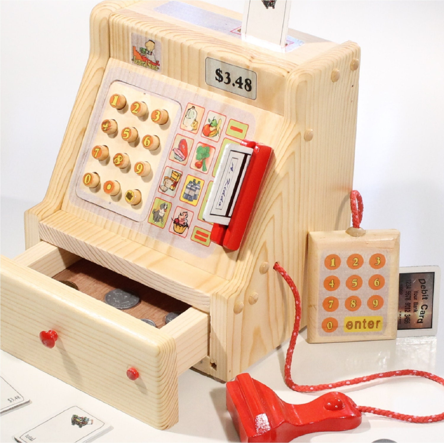 Toy Cash Register : Pretend toy cash register wooden includes by foreverafters