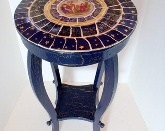 Elegant Mosaic Table French Style Blue and Gold with Painted China Medallion