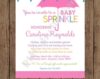 Custom Printed Pink Umbrell Rain Baby Sprinkle Invitations ... 1.00 each with envelope