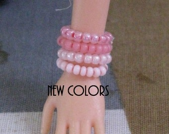 "5 Stretch Bracelets for 11 1/2 - 12"" 1/6th Scale female Fashion Dolls 78 colors to choose from"