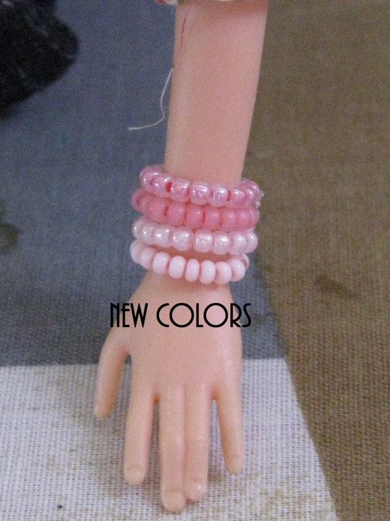 """5 Stretch Bracelets for 11 1/2 - 12"""" 1/6th Scale female Fashion Dolls 78 colors to choose from"""