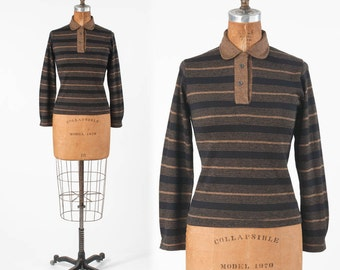 70s Striped Pullover Top: Vintage Cotton Knit Shirt, Black & Brown Long Sleeves, Mod Hipster, Deadstock NOS