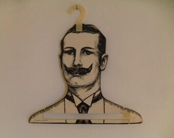 Vintage Mans Head Face Clothing Hanger Victorian Retro Gentlemen w/ Moustache Store Display, Boutique or Home Décor 1960's
