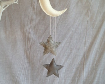 Hanging Decorations - Moon and Stars - Nursery - Mobile - Wool Felt
