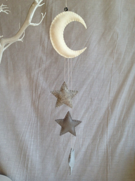 hanging decorations moon and stars nursery mobile wool. Black Bedroom Furniture Sets. Home Design Ideas