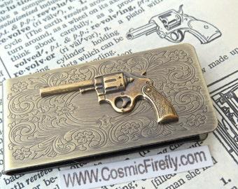 Steampunk Money Clip Revolver Gun Money Clip Men's Money Clip Antiqued Brass Money Clip New Wild West Gun Western Filigree Scroll Pattern