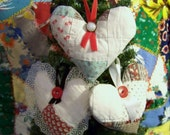 Three Primitive Heart Christmas Tree Ornaments from Old Quilt