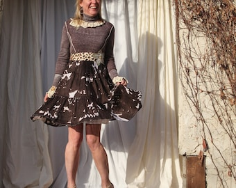 upcycled clothing, upcycled fashion, long sleeve dress . anything is possible . S - M