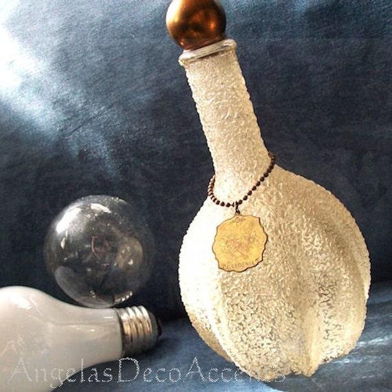 Antique Glass Decanter, Vintage Crackle Glass, Bubble Bath Bottle, Art Deco or Nouveau, Boho Chic, Copper Ball Cap and Closure, Marked Tag
