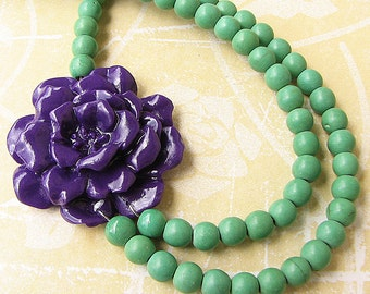 Beaded Necklace Flower Necklace Statement Necklace Purple Jewelry Bib Necklace Teal Necklace Bridesmaid Gift