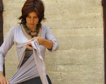 Womens  top/shirt-3 ways wrap top/shirt/cardigan - SNUGGLE UP TOP-Maternity top- midi/ long sleeves -womens cardigan-