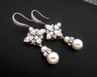 Bridal earrings, Wedding earrings, Wedding jewelry, Pearl earrings, Swarovski crystal earrings, Crystal dangle earrings, Rhinestone earrings