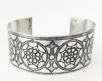 Aluminum Cuff, Flower Bracelet, Aluminium Jewelry