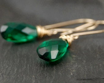 Emerald green glass earrings, wire wrapped jewelry handmade, green and gold dangle earrings, May birthstone