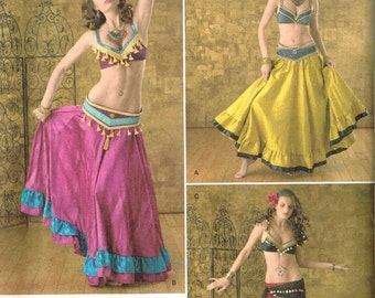 Exotic Harem Belly Dancer Halloween Costume Sewing Pattern Simplicity 2158 Misses Plus Size 14 16 18 20 22 Bust 36 38 40 42 44
