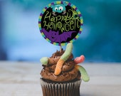 INSTANT DOWNLOAD Halloween cupcake topper print at home multicolor monster bat happy halloween classroom cupcake treat toppers circles