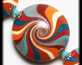 Desert Skies... Handmade Polymer Clay Beads Bead Set Turquoise Teal Terra Cotta Orange Aqua Silver Lentils Swirl Spiral Bead Caps Southwest