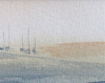 original watercolor painting of a meditative scene of sailing boats 001