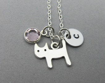 Little Cat Necklace - Kitten, Handstamped Initial, Customized birthstone, Personalized Name