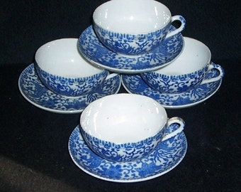 4 Cups and Saucers PHOENIX BIRD Flying Turkey Blue & White Japan