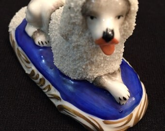 Vintage German Miniature Staffordshire Poodle Dog Porcelain Figurine Marked GERMANY