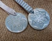 2x Snowflake Ceramic Christmas Decoration