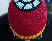 Iron Man inspired crochet beanie hat