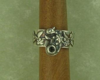 Green sapphire silver fairy dragon ear cuff DTPD PMC