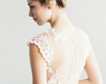 Ava - Beaded Lace and Silk Wedding Dress