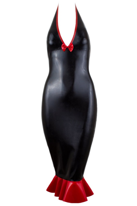 Latex Halter Fishtail Dress with Bow